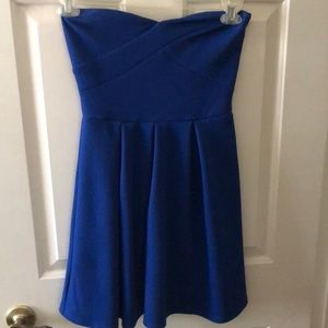 Strapless blue mini dress